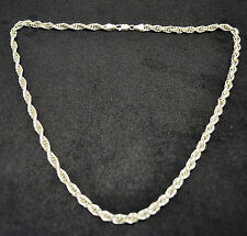 """SOLID Sterling Silver .925 Vintage Rope Chain Necklace 20"""" Extra Long Length"""