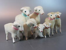 Vintage Wooly Sheep w/ wooden stick Legs PUTZ JAPAN lot of 8 Nativity Lamp 50's