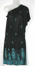 BOOHOO (UK8 / EU36) 'VANESSA' ONE SHOULDER BLACK WITH BLUE PATTERN DRESS - NEW