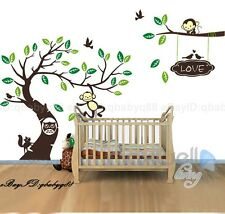 Large Monkey Owl Tree+Branch Vinyl Wall Decal Home Sticker Kids Nursery mural R