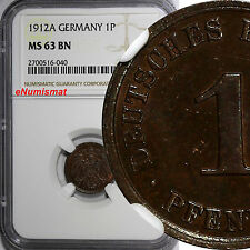 Germany-Empire Wilhelm II 1912-A 1 Pfennig NGC MS63 BN TOP GRADED BY NGC KM# 10