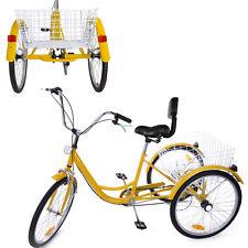 """Tricycle 6 Speed 24"""" 3 Wheel Bicycle Trike Bike Basket Backrest Man Woman Adult"""