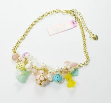 Betsey Johnson Candy Charms Cluster Frontal Necklace B07174-N01 NWT