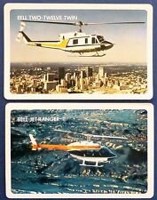 PAIR VINTAGE SWAP CARDS. BELL HELICOPTERS, 212 TWIN & JET RANGER. 1970s RARE