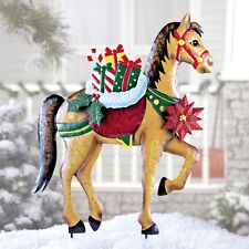Holiday Horse with Gifts Statue Stake Christmas Winter Outdoor Yard Decor