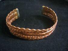 """Vintage Embossed Floral & Serpentine Motif Solid Copper 6"""" Cuff Bracelet"""