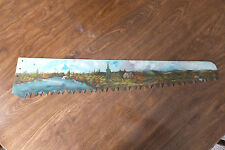 """Hand Painted Scene On Saw Blade 30""""Long"""