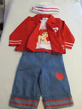 NWOT Disney Girl's 4 Pc Sailor Outfit The Little Mermaid Ariel Size 24 Months