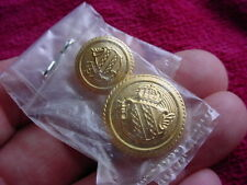 2 NOS Crown over Shield Crest Gold Tone Replacement Buttons for Blazer or Jacket