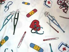 "Amazing Nursing Fabric 76x60"" Anthropomorphic Band Aid Hearts & Thermometer"