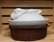 Apilco White Porcelain Rabbit / Hare Covered Casserole Dish ~ France.