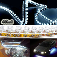"2x 19"" White 48 LED Flexible Side Glow Strip Daytime Running Driving Light 12V"