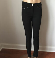 NWTS ESCADA SIZE 14 WOMENS PANTS JEANS BLACK SKINNY STRAIGHT LEG COTTON ELASTANE