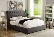 NEW RYLAN LOW PROFILE BUTTON TUFTED LIGHT BROWN LINEN FABRIC QUEEN BED