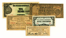 Set of 5 diff. WW2 Philippines guerilla and Japanese invasion currency nice circ