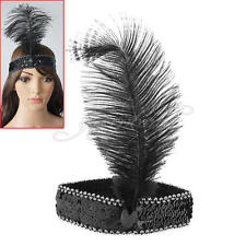 Burlesque Feather Headdress Flapper Sequin Fancy Cosplay Cocktail Costumes Party