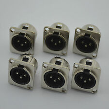 6PCS,3 Pole male XLR Panel Connector Nickel Case