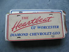 DIAMOND CHEVY GEO WORCHESTER MASSACHUSETTS MA DEALERSHIP BOOSTER LICENSE PLATE