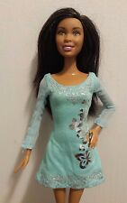 Mattel Barbie Doll Black Hair in a Aqua Butterfly Dress 2001