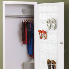 Do Over The Door Clear Shoes Organizer Hanging Storage Rack 24 - Pockets White