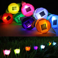 Solar Powered Tulip Flower LED Light Yard Garden Path Way Landscape WHITE Lamp
