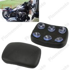 Black Pillion Pad Seat 6 Suction Cup For Harley Dyna Sportster Softail Touring
