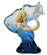 "9"" HEART OF THE OCEAN Mermaid Fantasy Nautical Decor Statue Sculpture"