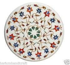 """24"""" White Marble Side Coffee Table Top Multi Gem Inlay Marquetry Furniture H1529"""