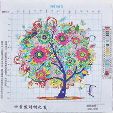 New 11CT 45*45cm Home Decor Colorful Tree Counted Cross Stitch Embroidery Set