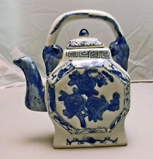 Blue and White Tea Pot Porcelain Top Handle Hand Painted Floral Design, China