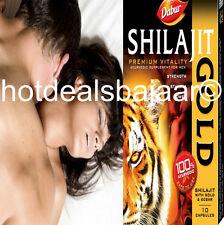 10 CAPSULES Dabur Shilajit Gold Stamina Libido Vigour Sex Premature Ejac HERBAL