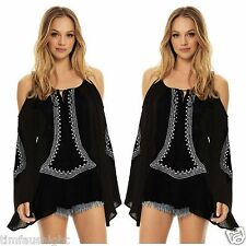 ELAN Boho Black with White Embroidered Cold Shoulder Bell Sleeve Tunic Top O/S