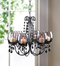 Beaded Candle Chandelier with Smoked Glass Candle Cups