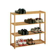 Shoe Rack Natural Walnut 4 Tier For home Office Living Shoe Storage Solutions