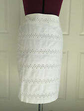 Talbots White Cotton Eyelet Lined Pencil Skirt Sz 6