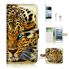 iPod Touch iTouch 5 Print Flip Wallet Case Cover! Blue Eye Leopard P0354