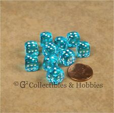 NEW 10 Transparent Turquoise Blue 10mm Rounded Edge RPG D&D Game D6 Dice Set