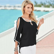 Womens Cut out Cold Shoulder Short Sleeve T-shirt Tunic Party Plus Size S-5XL