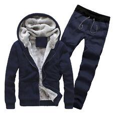 Men Velvet Lined Tracksuit Hoodie Coat Sweatshirt Pants 2Pcs Sports Casual Suit