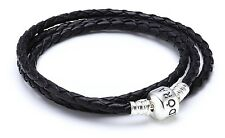 Genuine Authentic Pandora Bracelet Moments Triple Leather Black 590705CBK- 65cm