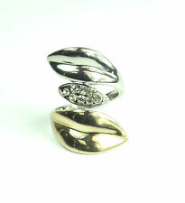 "LADIES SILVER GOLD LIPS RING DIAMANTE UNIQUE STATEMENT PIECE BOLD ""KISS"" (CL9)"