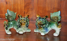 Two Chinese Asian Pottery Foo Dogs Green & White Glazed Ceramic Lions (0630)