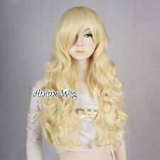 Light Blonde New 70cm Long Curly Women Anime Cosplay Chrismas Wig+Free Wig Cap