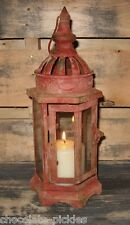 Farmhouse RED LANTERN Candle Holder*Primitive/French Country Christmas Decor
