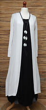 LAGENLOOK AMAZING BOHO SOFT LONG CARDIGAN/COAT*WHITE* SIZE M/L BUST 36-38""