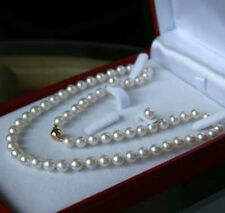 AAA 7-8MM White Akoya Cultured Pearl Necklace Earring