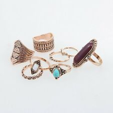 Vintage Bohemian Style The Knuckle Ring Rings Set Midi Rings Turquoise Ring