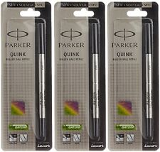 3 X Parker Quink Roller Ball Refill Black Medium Point NIB Navigator Re Fill