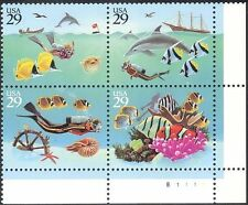 USA 1994 Fish/Ship/Boat/Divers/Dolphin/Marine/Nature/Diving 4v s-t blk (s4565b)