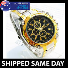 ORLANDO MENS  FASHION DRESS WATCH Gold Strap Band Army Military Business BLKF T2